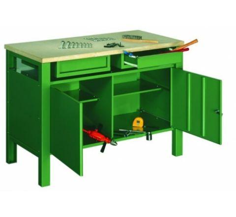 Metalowy stół warsztatowy slusarski STW324 120cm z 2 szafkami
