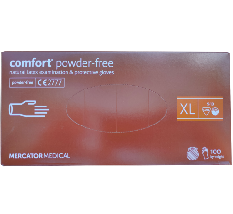 Rękawice lateksowe COMFORT 100 sztuk. MERCATOR® - rozmiar XL