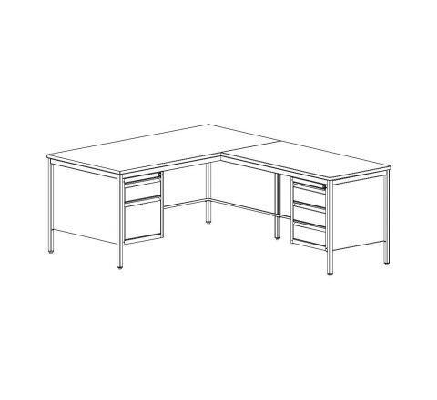 Metalowe biurko sekretarskie BIM 073 narożne