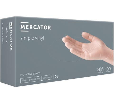 Rękawice winylowe Simple Vinyl - 100 sztuk. MERCATOR® - rozmiar M
