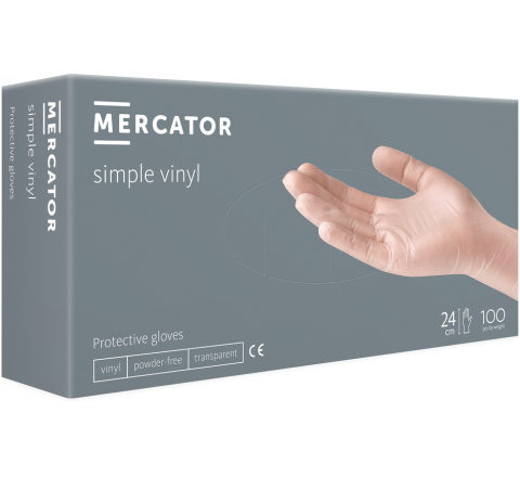Rękawice winylowe Simple Vinyl - 100 sztuk. MERCATOR® - rozmiar L