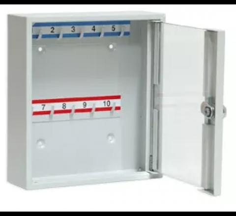 Szafka na klucze SK 10/S z haczykami mocowanymi na stałe przeszklona LEOMAR