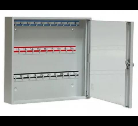 Szafka na klucze SK 30/S z haczykami mocowanymi na stałe przeszklona LEOMAR