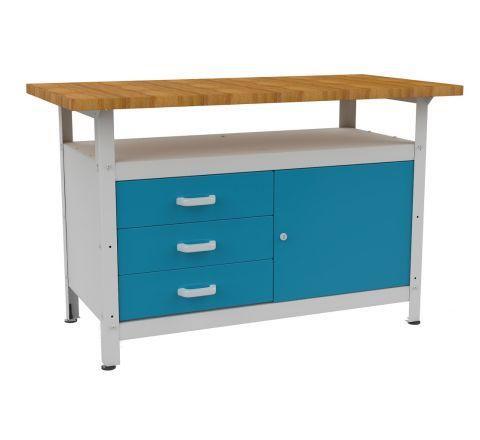 Metalowy stół warsztatowy roboczy  z 3 szufladami STW122