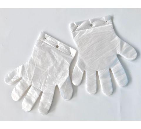 Rękawice foliowe jednorazowe  ZRYWKI z 1 dziurką HDPE